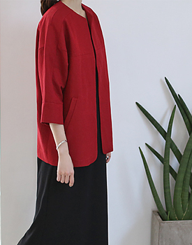 [Shipped the same day] Linen Jacket Hoshi main door Breadth Red Color Add Note
