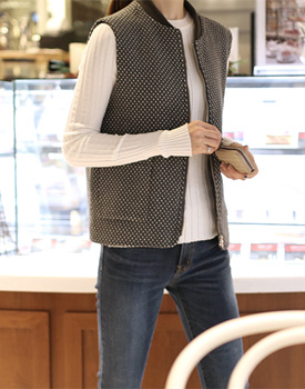 dot zip-up vest - 2c