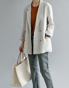 French Linen double jacket General Linen material Anodore ~ It is expensive and rare material ~