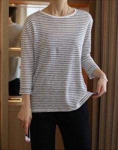 Linen Stripe T - 2c Linen 100%