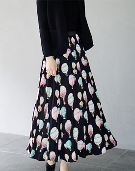 Balloon Pleats Long skirt