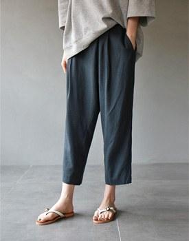 Band linen pants - 2c
