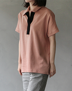 Mark collar long tee - 2c