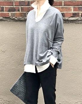 Loose fit V-neck Knit - 3c