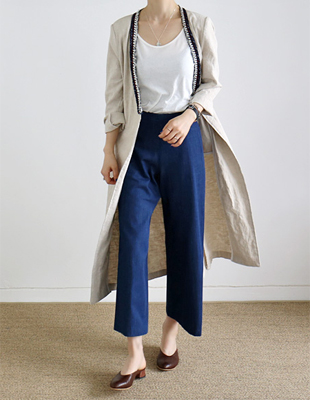 Tape linen long coat