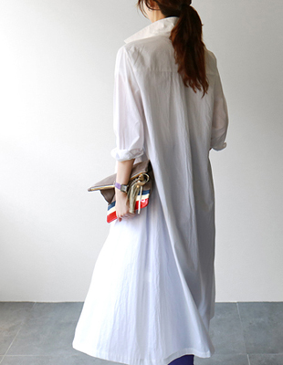 HYE Embroidery Long Shirt Dress - 2c