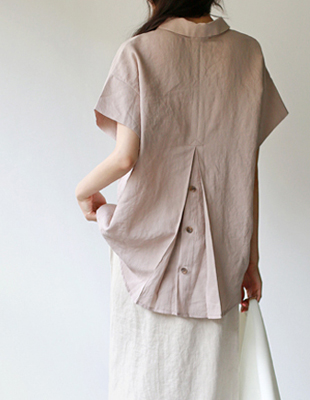 back Point Linen Blouse - 3c