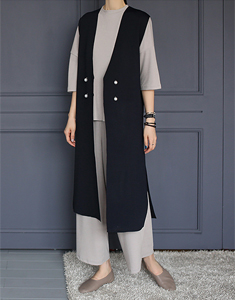 Best Long pearl buttons Knit - Navy