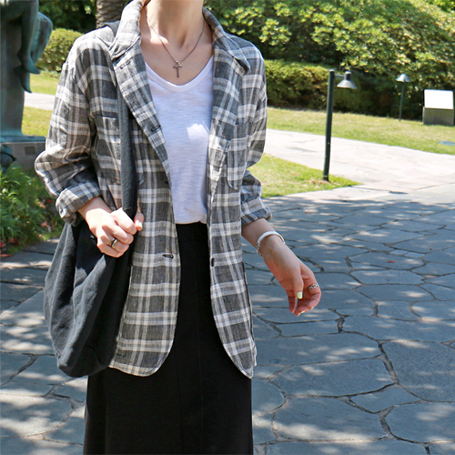 Cover check linen jacket