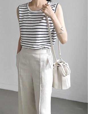 Stripe Linen sleeveless Top - 3c