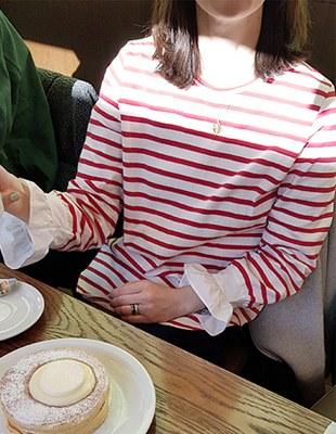 Stripe Ruffle Tee - 2c