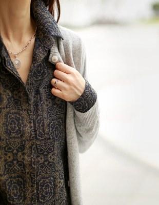 Cashmere round neck cardigan - 5c