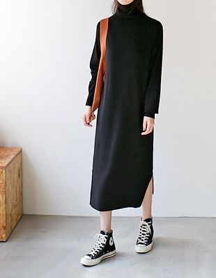 Turtle knit long dress - 3c