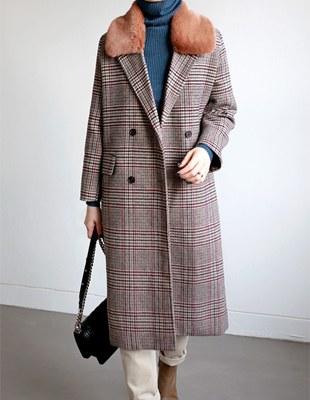 Stoney check fur coat