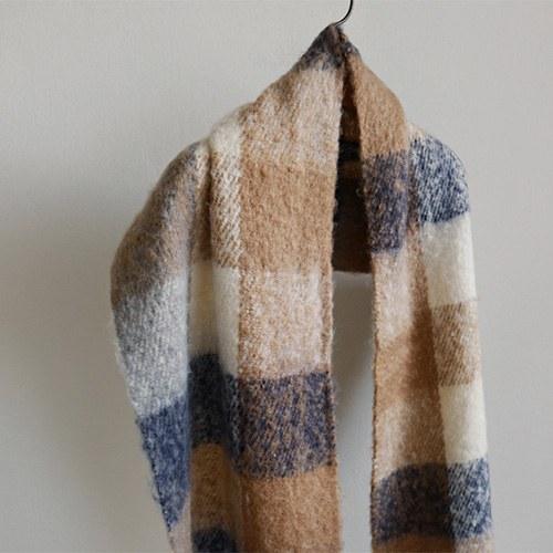 Arc check long shawl - 2c