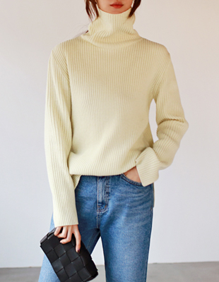 Wool ribbed turtleneck - 4c