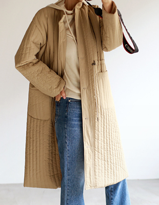 save quilted long coat