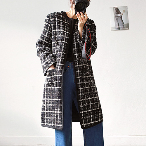 round tweed - coat