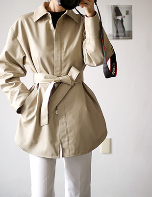 leather half - coat