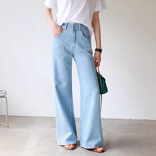 long & wide soft denim