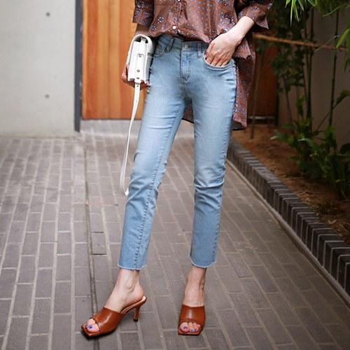 slim linen denim pants