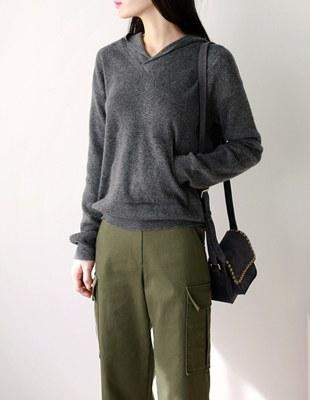 pocket hood knit