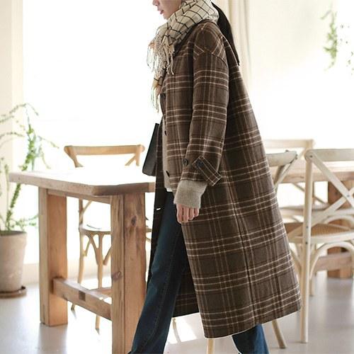 Brown Check Handmade Coat