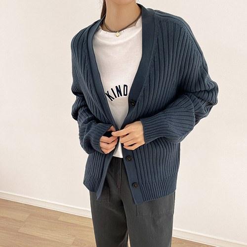 Volume Sleeve Whole garment Cardigan