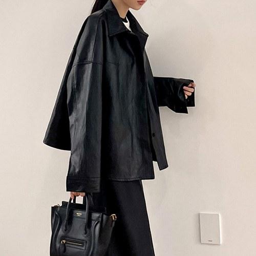 Coude Leather Shirt Jacket